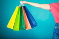 Colorful Shopping Bags In Female Hand. Sale Retail Royalty Free Stock Photos - 44128068