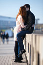 Young Couple Dating And Kissing In The City Park Royalty Free Stock Images - 44129109