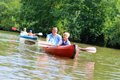 Father And Son Kayaking On The River Royalty Free Stock Images - 44140409