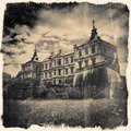 Retro Stylized In Black And White Colors Pidhirtsi Castle, Villa Royalty Free Stock Image - 44160916
