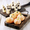 Healthy Halloween Treats Made From Fruit Royalty Free Stock Photography - 44161807