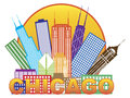 Chicago City Skyline Color In Circle Vector Illustration Stock Photography - 44170302