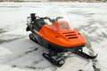 Orange Snowmobile On Ice Royalty Free Stock Photos - 44182528