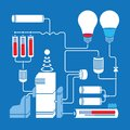 Electric Scheme With Light Bulbs, Batteries And Royalty Free Stock Image - 44186766