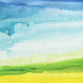 Abstract Watercolor Hand Painted Landscape Background. Stock Image - 44197821