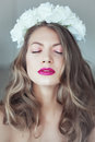 Young Beautiful Woman With Flowers In Hair And Blue Eyes Stock Images - 44201494