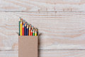 Colored Pencils On White Wood Table Royalty Free Stock Photography - 44208267