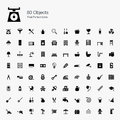 80 Objects Pixel Perfect Icons Royalty Free Stock Photos - 44209488