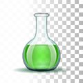 Chemical Laboratory Transparent Flask With Green Royalty Free Stock Image - 44211496