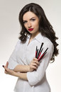 Beauty Salon Makeup Artist With Professional Brushes Stock Images - 44221314