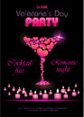 Valentine Poster With Hearts And Cocktails Royalty Free Stock Photo - 44229005
