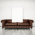 Vintage Sofa And White Poster Royalty Free Stock Images - 44250679