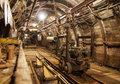 Interior Of Underground Mine Passage With Rails, Light And Carriage Stock Image - 44262261