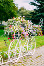White Decorative Bicycle Parking In Garden Royalty Free Stock Photos - 44268358