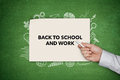 Back To Shool And Work Concept On Green Blackboard Royalty Free Stock Images - 44271799