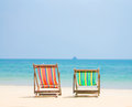 Bright Color Wooden Beach Chairs On Island Tropical Beach Stock Photography - 44284882