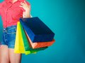 Colorful Shopping Bags In Female Hand. Sale Retail Royalty Free Stock Photos - 44298258