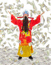 God Of Wealth Share  Riches And Prosperity With Money Rain Royalty Free Stock Images - 44299059
