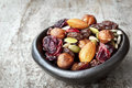 Trail Mix In Black Bowl Stock Photo - 44310510