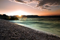 Sunrise Over The Crystal Clear Tourquise Sea In Croatia, Istria, Europe Royalty Free Stock Photos - 44318388