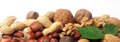 Festive Banner Of Mixed Whole Fresh Nuts Royalty Free Stock Photography - 44329597