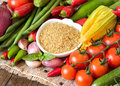 Raw Organic Bulgur In Bowl And Vegetables Stock Image - 44329871