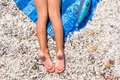 Closeup Of Little Girl Legs On Tropical Beach With Stock Image - 44334811