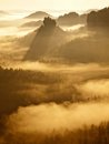 Cold Misty Sunrise In A Fall Valley Of Saxony Switzerland Park. Sandstone Peaks Increased From Fog, The Fog Is Colored To Orange Stock Photos - 44335063