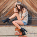 Woman In Grunge Outfit At Sunset Royalty Free Stock Photos - 44336518