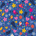 Flowers, Hearts, Birds Love Nature Seamless Pattern Stock Images - 44337224