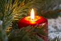 Christmas Red Candle Wit Fir Closeup Royalty Free Stock Image - 44345456