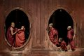Young Novice Monks At Window Wooden Church Royalty Free Stock Image - 44346986