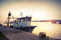 Industrial Fishing Boat. Vintage Toned Photo Royalty Free Stock Image - 44350936