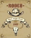 Rodeo Themed Graphic With Cowboy Hat And Skull Stock Images - 44353234
