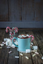 Mug Filled With Hot Chocolate And Marshmallow  And Candy Canes I Royalty Free Stock Images - 44356249