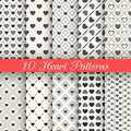 10 Heart Shape Vector Seamless Patterns. Black And Royalty Free Stock Photo - 44357755