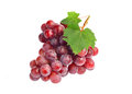 Red Grape With Leaf Isolated On White Background Royalty Free Stock Image - 44358576