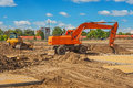 Excavator On Construction Site Royalty Free Stock Image - 44382366