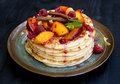 Pancakes With Fruit, Berries, Mint And Cinnamon Royalty Free Stock Image - 44383186