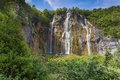 Landscape Of A Beautiful Rock With A Waterfall Under The Blue Sk Royalty Free Stock Image - 44388226