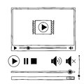 Hand Draw Sketch Doodle Video Player For Web Stock Photo - 44400940