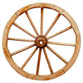 Ancient Wooden Grunge Wagon Wheel In Country Style Isolated On W Stock Images - 44405384