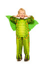 Blond Boy In Dragon Costume Full Height Portrait Stock Photography - 44415912