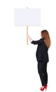 Back View Business Woman Showing Sign Board. Stock Photo - 44418830