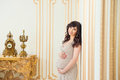 Fashionable Pregnant Mom In Golden Dress Hugging Tummy Royalty Free Stock Photography - 44419907