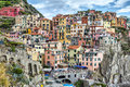 Houses On A Cliff In Manarola, Italy Stock Image - 44430511