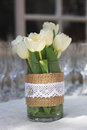 Tulips And Champagne Cups Royalty Free Stock Photos - 44432458