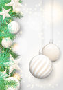 Christmas Background With White Ornaments And Branches Royalty Free Stock Photo - 44433425