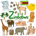 Collection Of Zimbabwe Icons Stock Photos - 44451193