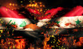 Iraq Syria Flag War Torn Fire International Conflict 3D Royalty Free Stock Image - 44455646